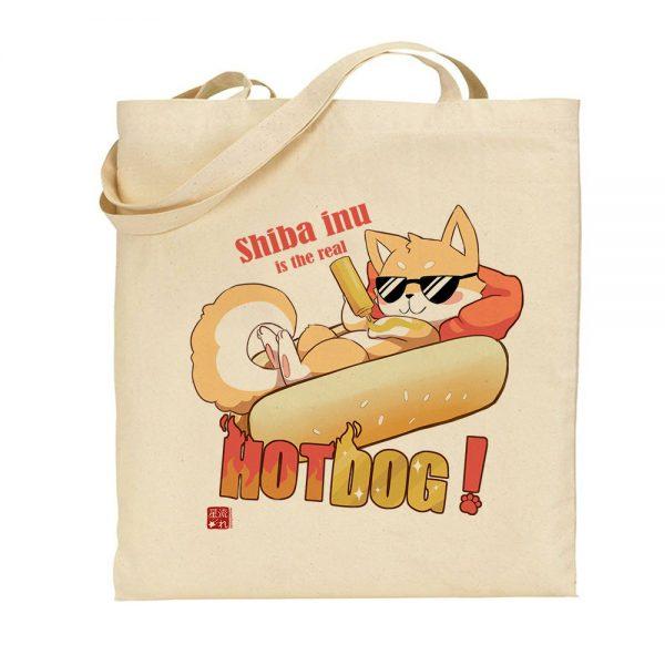 tote-bag shiba hot dog