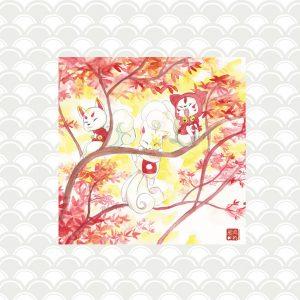 plaque kitsune érables