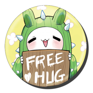 badge 75 free hug cactus