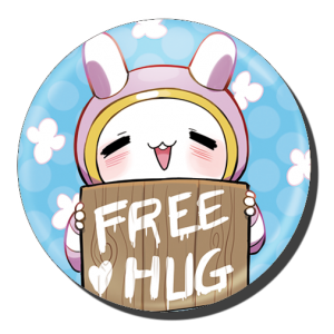 badge 75 free hug bleu
