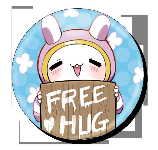 badge 75 free hug bleu