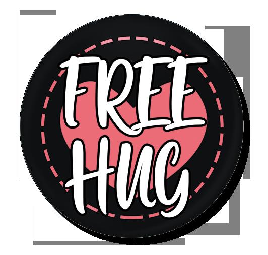 badge 75 free hug coeur