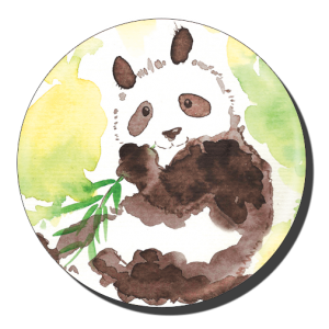 badge 75 panda aquarelle