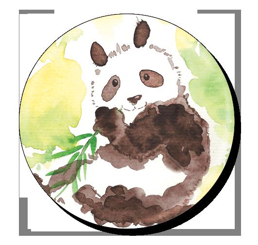 badge 75 panda aquarelle
