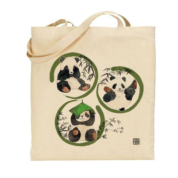 tote-bag pandas aquarelle