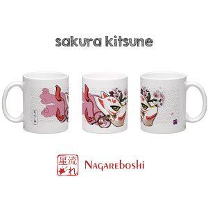 mug masque de kitsune cerisiers