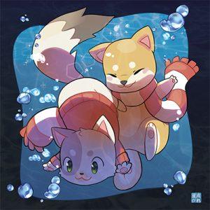 niji et kumo sous l'eau