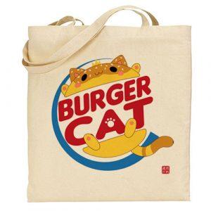 tote bag burger cat