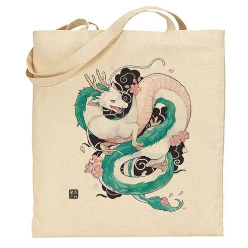 tote-bag dragon blanc