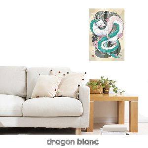 tableau dragon blanc