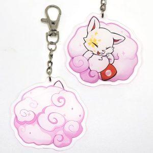 porte-clés kitsune rose