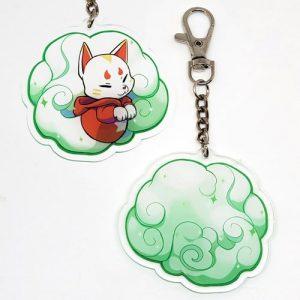 porte-clés kitsune vert