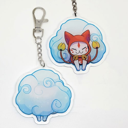porte-clés kitsune bleu